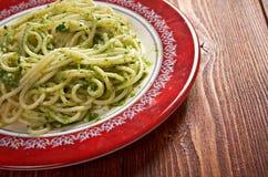 Italian pasta spaghettPesto Genovese Royalty Free Stock Photos