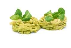 Italian pasta tagliatelle with corn salad Stock Image