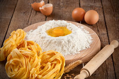 Italian pasta tagliatelle homemade Royalty Free Stock Photography