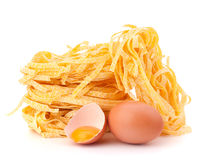 Italian pasta tagliatelle nest Royalty Free Stock Images