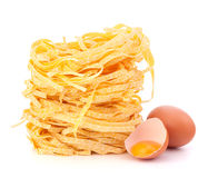 Italian pasta tagliatelle nest Stock Photos