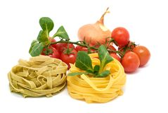 Italian pasta tagliatelle with vegetables Royalty Free Stock Images