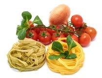 Italian pasta tagliatelle with vegetables Stock Photos