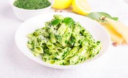 Italian pasta with tasty pesto Stock Photo