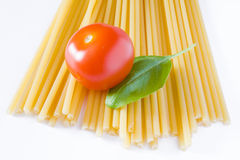 Italian pasta tomato and basil Stock Photos