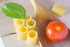 Italian pasta tomato and basil Stock Photo