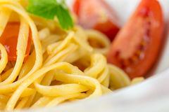 Italian pasta with tomato and basil Stock Photography