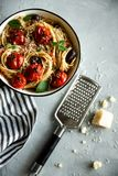 Italian pasta with tomato and basil. View from the top. stock photography
