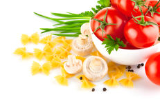 Italian pasta with tomato and champignons Stock Images