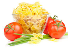 Italian Pasta with Tomato and Fresh Scallions Royalty Free Stock Image