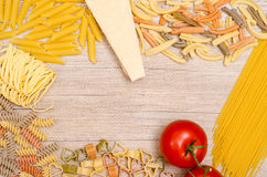 Italian pasta with tomato and parmesan cheese Royalty Free Stock Image