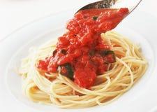 Italian pasta with tomato sauce Stock Photos