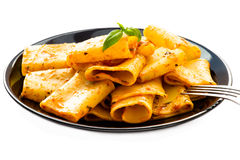 Italian pasta with tomato sauce and basil stock image