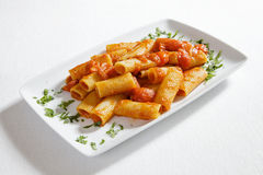 Italian pasta with tomato sauce Stock Photo