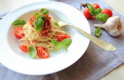 Italian pasta with tomato sauce and meat Royalty Free Stock Photos