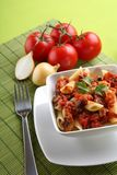 Italian pasta with tomato sauce and parmesan Royalty Free Stock Photo