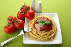Italian pasta with tomato sauce and parmesan Stock Photography