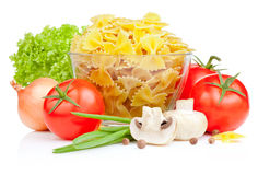 Italian Pasta with Tomato, Scallions, Lettuce Stock Images