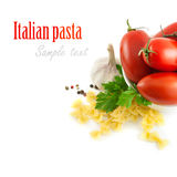 Italian pasta with tomatoes and garlic Stock Image