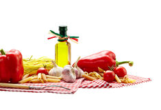 Italian Pasta with tomatoes, garlic, pepper,olive oil  on a whit Stock Image