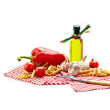 Italian Pasta with tomatoes, garlic, pepper,olive oil on a white Royalty Free Stock Photo