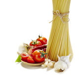 Italian pasta with tomatoes, garlic and red chilli pepper Stock Photos