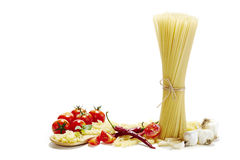 Italian pasta with tomatoes, garlic and red chilli pepper Stock Photography