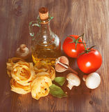 Italian Pasta with tomatoes and mushrooms Stock Photo