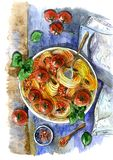 Italian pasta with tomatoes. Painted in watercolor vector illustration