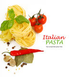 Italian Pasta with tomatoes, paprika and basil Stock Photography