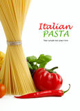 Italian Pasta with tomatoes, paprika and basil Royalty Free Stock Images