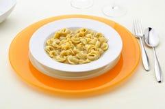 Italian pasta, tortellini in broth Royalty Free Stock Images