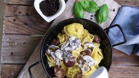 Italian pasta tortellini stock video footage