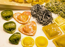 Italian pasta and tortellini stuffed heart-shaped Stock Photos
