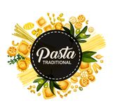 Italian pasta traditional cuisine, circle banner vector illustration