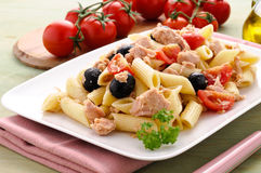 Italian pasta with tuna, tomatoes and olives Royalty Free Stock Photo