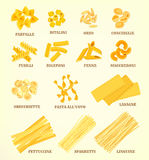 Italian Pasta Types Or Sorts Vector Icons Royalty Free Stock Images