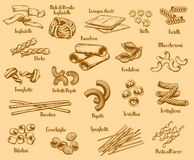 Italian pasta types and names, vector royalty free illustration