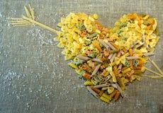 Italian pasta. Variety of types and shapes of dry Italian pasta Stock Photos