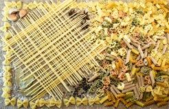 Italian pasta. Variety of types and shapes of dry Italian pasta Stock Photo