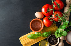Italian pasta with various ingredients Stock Photo