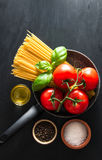 Italian pasta with various ingredients Stock Photos