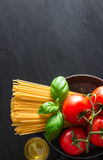 Italian pasta with various ingredients Royalty Free Stock Photography
