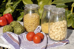 Italian pasta and vegetable in the sun Stock Photos