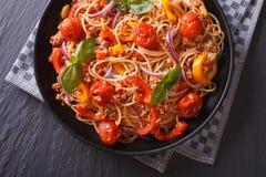Italian pasta with vegetables closeup. Horizontal top view Stock Photography