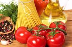 Italian pasta with vegetables, olive oil Stock Images
