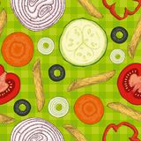 Italian Pasta and Vegetables. Seamless Pattern royalty free illustration