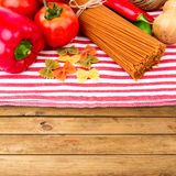 Italian pasta and vegetables royalty free stock photos
