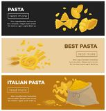 Italian pasta web banners vector template for Italy cuisine restaurant cooking recipe Royalty Free Stock Photography