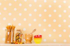 Italian pasta. On yellow background with copy space royalty free stock photography